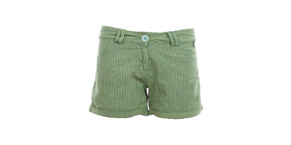 Dámske pruhované zelené kraťasy Exe Jeans