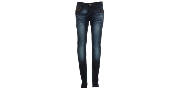 Dámske modré džínsy s šisovaním Exe