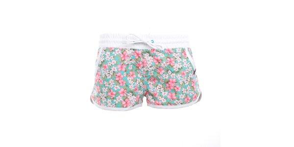 Dámske zeleno-ružové kvetované kraťasy Exe Jeans