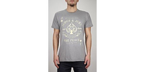 Pánske šedé tričko s potlačou Judge&Jury