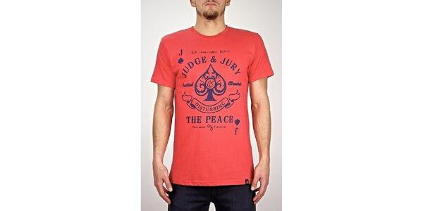 Pánske červené tričko s potlačou Judge&Jury