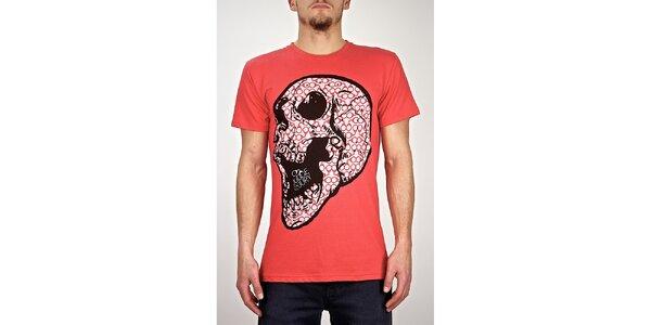 Pánske červené tričko s lebkou Judge&Jury