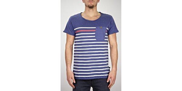 Pánske modro-fialové pruhované tričko s vreckom Judge&Jury