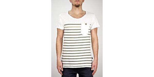 Pánske biele pruhované tričko s vreckom Judge&Jury