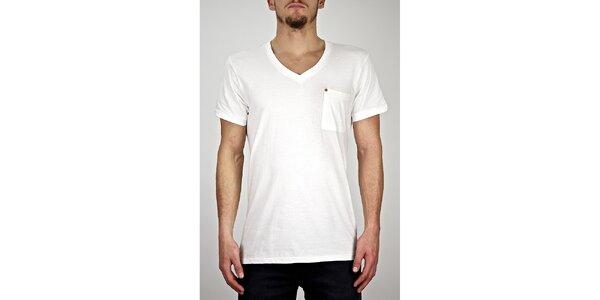 Pánske biele tričko s véčkovým výstrihom Judge&Jury