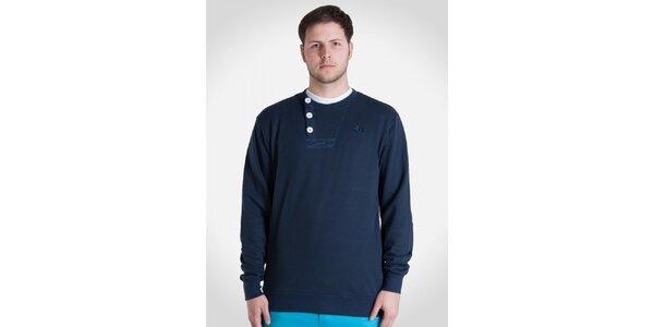 Pánska námornícky modrá mikina s gombíkmi Skank