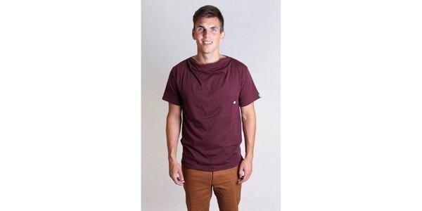 Pánske vínové tričko s gombíkom Skank