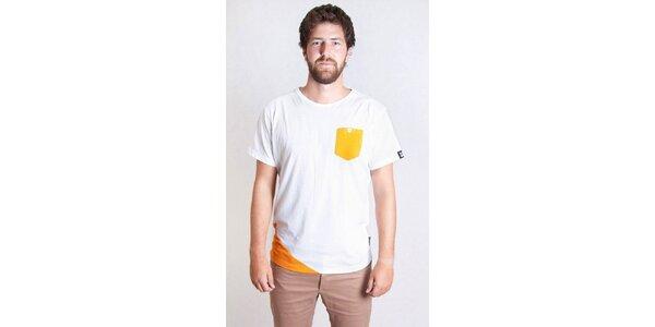 Pánske biele tričko s oranžovou kapsičkou Skank