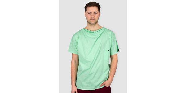 Pánske svetlo zelené tričko s gombíkom Skank
