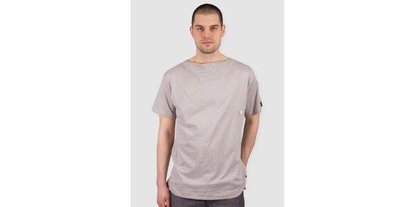 Pánske svetlo béžové tričko s gombíkom Skank