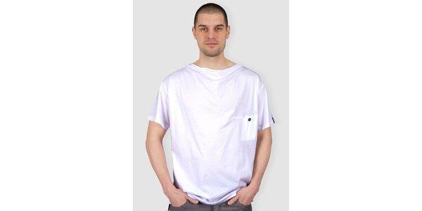 Pánske biele tričko s gombíkom Skank