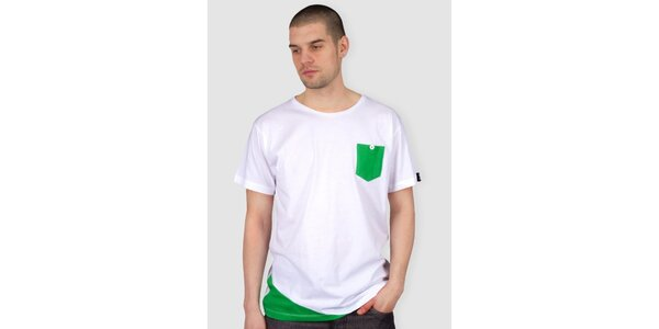 Pánske biele tričko so zelenou kapsičkou Skank