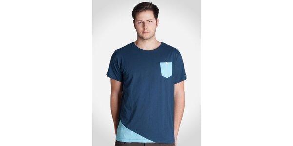 Pánske modré tričko s modrou kapsičkou Skank