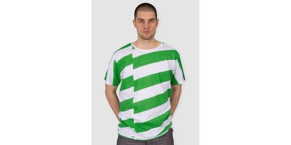 Pánske zeleno-biele pruhované tričko Skank