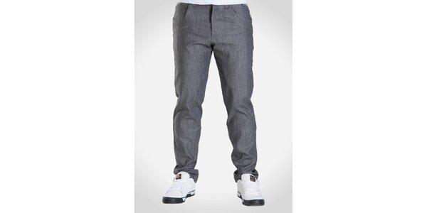 Pánske šedo melírované nohavice Skank