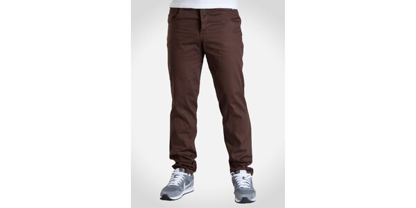 Pánske gaštanovo hnedé nohavice Skank