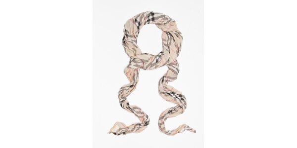 Dámska béžová kockovaná šatka Bella Rose