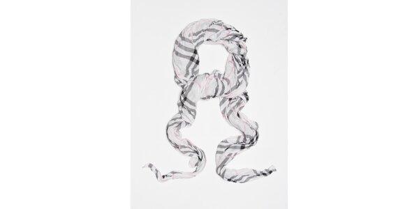 Dámska biela kockovaná šatka Bella Rose