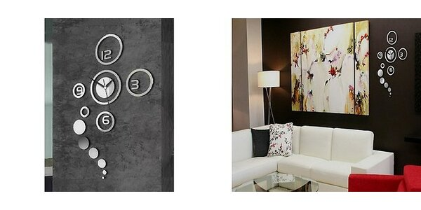 Dizajnové zrkadlové nástenné hodiny AiMAX kruhy