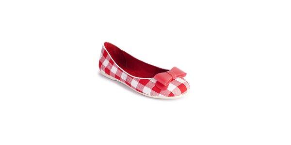 Dámske kárované červeno-biele baleríny Lola Ramona