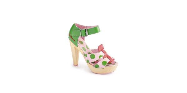 Dámske ružovo-zelené sandálky Lola Ramona s bodkovaným vzorom