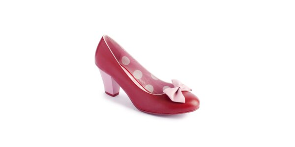 Dámske červeno-ružové lodičky Lola Ramona s mašľou