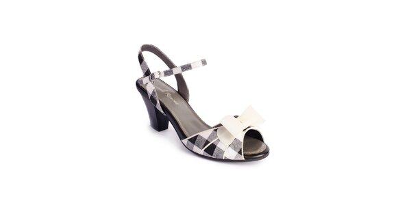 Dámske čierno-biele sandálky Lola Ramona s mašľou a kockami