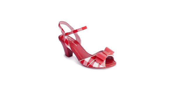 Dámske červeno-biele sandálky Lola Ramona s mašľou a kockami