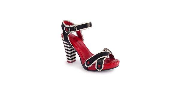 Dámske čierno-biele sandálky Lola Ramona s červenými detailmi