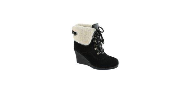 Dámske čierne semišové členkové topánky s úpletom Lola Ramona