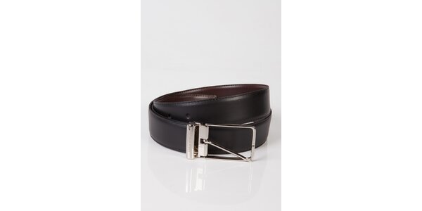 Dámsky čierno-hnedý obojstranný kožený opasok Calvin Klein