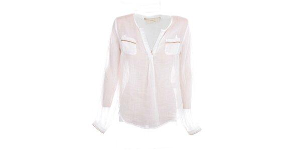 Dámska biela ľanová košeľa s béžovými lemami Nougta London