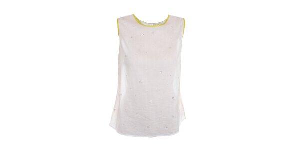 Dámsky biely top s limetkovými lemami Nougat London