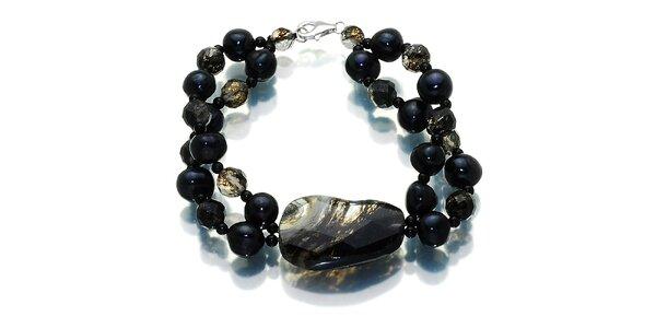 Dámsky tmavý náramok s čiernymi perlami a polodrahokamami Orchira