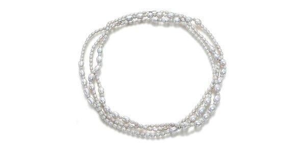 Strieborný perlový náhrdelník Orchira