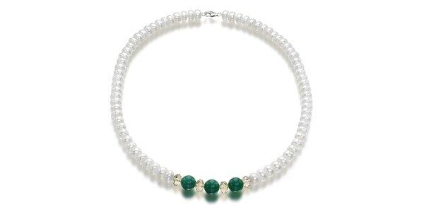 Biely perlový náhrdelník Orchira so zeleným nefritom