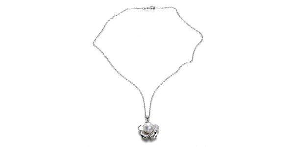 Strieborný náhrdelník Orchira s bielou perlou