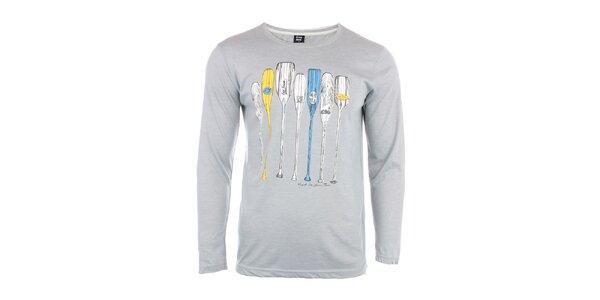 Pánske svetlo šedé tričko s vodáckou potlačou Exe Jeans
