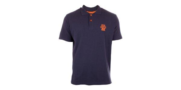 Pánske námornícky modré polo tričko Exe Jeans s oranžovými gombíkmi