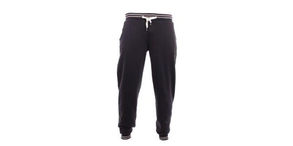 Pánske čierne tepláky s bielymi pruhmi Exe Jeans