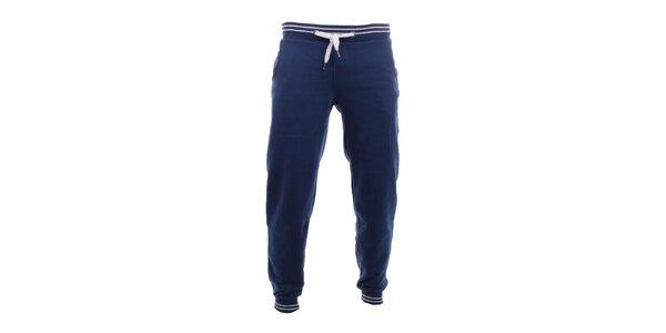Pánske tmavo modré tepláky s bielymi pruhmi Exe Jeans
