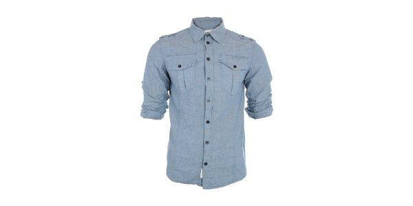 Pánska svetlo modrá košeľa Exe Jeans s dlhými rukávmi