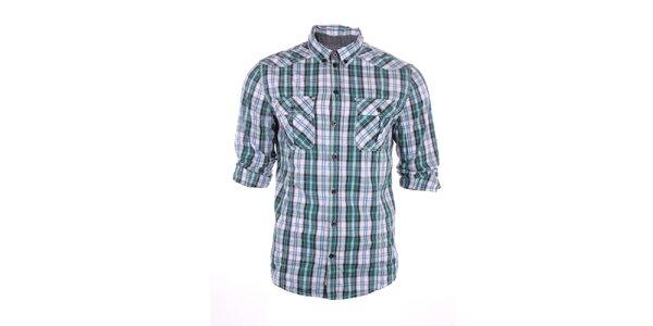 Pánska modro-zelená kockovaná košeľa Exe Jeans