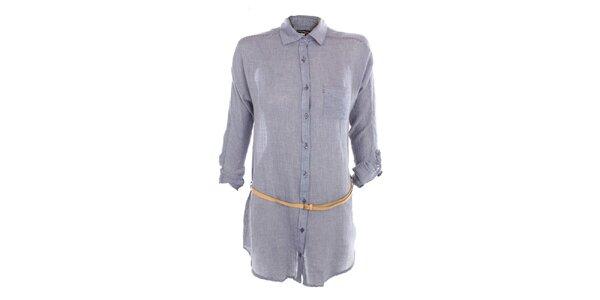 Dámske modré košeľové šaty Exe Jeans s opaskom