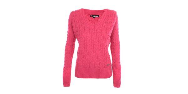 Dámsky ružový sveter s véčkovým výstrihom Exe Jeans