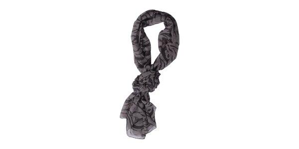Dámska šedo-čierna šatka Exe Jeans s potlačou