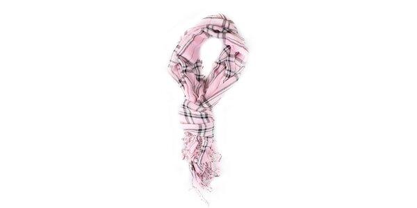 Dámska ružovo kockovaná šatka Exe Jeans