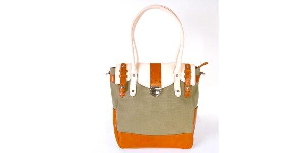 Dámska khaki kabelka s oranžovo-bielymi detailmi Belle&Bloom