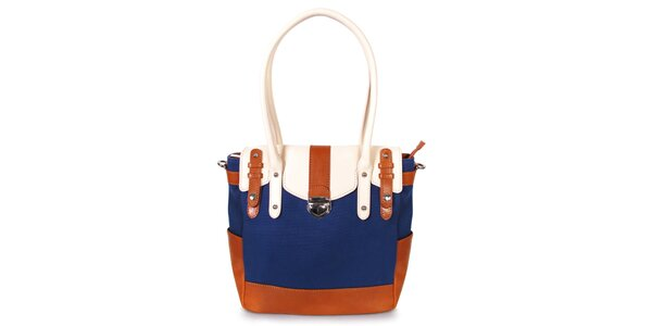 Dámska tmavo modrá kabelka s karamelovo-bielymi detailmi Belle&Bloom