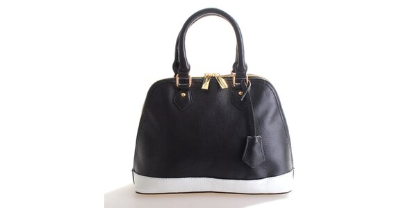 Dámska čierno-biela kožená kabelka Belle&Bloom